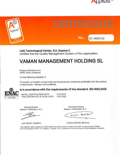 VAMAN ISO 9001 2015 EN